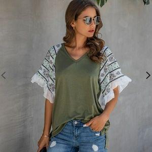 Ruffled Chiffon V-Neck Blouse T-Shirt